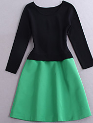 Boutique S Women's Casual/Daily Simple  DressSolid Round Neck Above Knee Long Sleeve Green