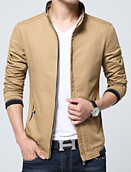 Men's Long Sleeve Casual / Work Jacket Coat Cotton / Polyester Fashion Solid Regular Zipper Outerwear