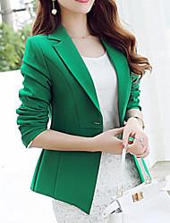 Women's Work Simple Spring Blazer,Solid Shirt Collar Long Sleeve Blue / Green Polyester Medium