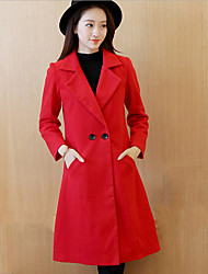 Women's Casual/Daily Simple CoatSolid Notch Lapel Long Sleeve Winter Red Cotton / Polyester Medium
