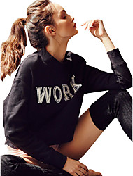 Women's Casual/Daily Simple / Street chic Loose Regular HoodiesLetter Black Round Neck Long Sleeve