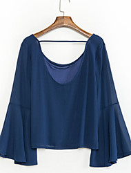Damen Solide Einfach Lässig/Alltäglich T-shirt,Rundhalsausschnitt Sommer Langarm Blau Baumwolle Dünn