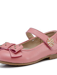 Girl's Flats Fall Ballerina / Round Toe Leather Casual Flat Heel Bowknot Black / Blue / Pink / White Others