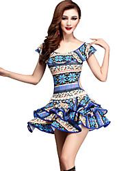 Dança do Ventre Vestidos Mulheres Actuação Fibra de Leite Padrão/Estampado 2 Peças Manga Curta Natural Vestidos / ShortsSuitable Weight