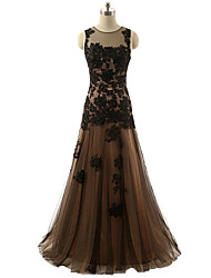 Formal Evening Dress - Color Block Trumpet / Mermaid Jewel Floor-length Lace Satin Tulle with Appliques Beading Lace