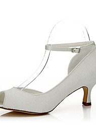 Women's  Fall Peep Toe Silk Wedding / Party & Evening / Dress Low Heel Lace-up White Others