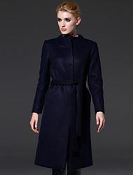 frmz femmes sortant simples coatsolid se tiennent à manches longues automne / hiver bleu / laine orange / support de polyester