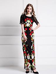 Mujer Vaina Vestido Noche Sofisticado,Floral Escote Redondo Maxi Manga Corta Negro Poliéster Verano Tiro Medio Rígido Medio