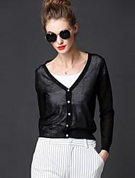 FRMZ  Women's Going out Street chic Regular CardiganSolid Black V Neck Long Sleeve Medium Inelastic