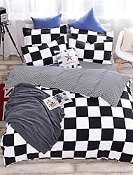 bedtoppings cachecol 4pcs duvet cover quilt definir o tamanho da rainha folha fronha plana preto imprime branco microfibra