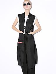 nouveau stand manches avant le travail des femmes simples printemps / automne blazerstriped polyester noir opaque