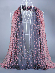 Women's Fashion Voile Round Print Scarf Black/Pink