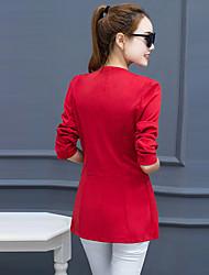 Damen Solide Retro Lässig/Alltäglich / Übergröße Blazer,Steigendes Revers Alle Saisons Langarm Rot / Schwarz Polyester Mittel