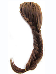 Natural Braid Bangs Clip In on Hair Extension Fringe Personalized Heat Resistant Synthetic Hair for Women Bride Brown