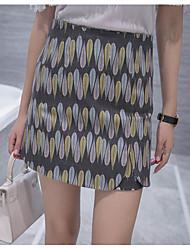 Women's Print Gray SkirtsSexy / Cute Mini