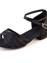 Kids' Dance Shoes Suede Suede Latin Salsa Sandals Chunky Heel Practice Black Silver Gold