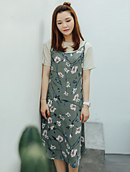 I'HAPPY Women's Beach Cute Loose DressFloral Strap Knee-length Sleeveless Green Polyester Summer