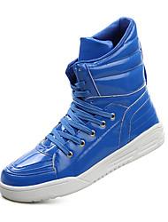 Masculino-Tênis-Conforto / Arrendondado-Rasteiro-Preto / Vermelho / Branco / Azul Real-Couro Ecológico-Ar-Livre