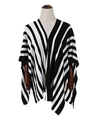 Damen Standard Mantel / Capes-Lässig/Alltäglich Einfach Gestreift Blau / Schwarz V-Ausschnitt Ärmellos Baumwolle Herbst Mittel Unelastisch