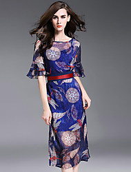 Women's Going out Boho Chiffon DressPrint Round Neck Knee-length  Length Sleeve Blue Silk Fall Mid Rise Inelastic Thin