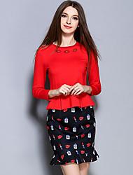 AINIER  Women's Formal Vintage Spring Set SkirtSolid Round Neck Long Sleeve Red Cotton / Spandex Medium