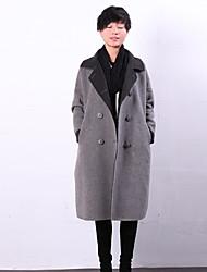Damen Solide Einfach Ausgehen / Lässig/Alltäglich Mantel,Winter Gekerbtes Revers Langarm Grau Dick Wolle / Polyester