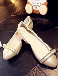 Femme Ballerines Confort Cuir Printemps Automne Décontracté Confort Talon Plat Blanc Plat