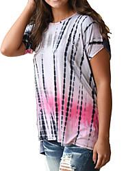 Damen Punkt Einfach Lässig/Alltäglich T-shirt,Rundhalsausschnitt Sommer Kurzarm Mehrfarbig Polyester Undurchsichtig / Dünn