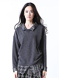 Yishidian® Femme Col de Chemise Manche Longues T-shirt Gris-YSD1536T1