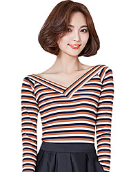 Fall Women's Going out Casual Fashion Wild Striped V Neck Long Sleeve T-shirt