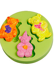 Three Cute Teddy Bears Silicone Mould Cake Decoration Sugarcraft Tools Polymer Clay Fimo Making Color Random