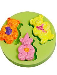 Trois mignons ours en peluche moule en silicone décoration de gâteau outils de sucre outils en polymère argile fimo faisant couleur aléatoire