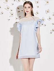 Trapèze Robe Femme Décontracté / Quotidien Mignon,Mosaïque Col Arrondi Au dessus du genou Manches Courtes Bleu / Blanc Polyester Eté