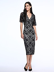 Women's Work Plus Size Dress,Print V Neck / Halter Midi ½ Length Sleeve Black Spandex / Others Summer