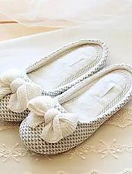 Women's Slippers & Flip-Flops Winter Slingback Synthetic Casual Flat Heel Bowknot Beige Others