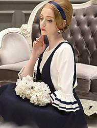 Mulheres Blusa Casual / Formal / Trabalho Vintage / Fofo / Sofisticado Primavera / Outono,Sólido / Color Block Azul / PretoPoliéster /