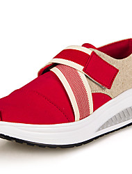 Damen-Sneaker-Lässig-Leinwand-Keilabsatz-Kinderbett Schuhe