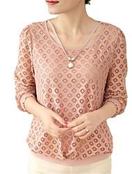 Damen Solide Retro / Einfach Ausgehen / Lässig/Alltäglich T-shirt,Rundhalsausschnitt Frühling / Herbst Langarm Rosa Polyester Mittel