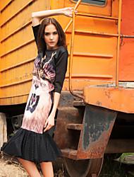 las mujeres liangsanshi de salir vestido de cambio simple, animal print ronda midi cuello ½ longitud de la manga del resorte de poliéster negro