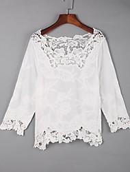 Tee-shirt Aux femmes,Couleur Pleine Sortie Sexy Automne Manches Longues Col Arrondi Blanc Coton Moyen