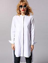 новый, прежде чем случайный / ежедневной простой shirtsolid женщин стоят с длинным рукавом белый