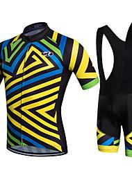 Fastcute Cycling Jersey with Bib Shorts Men's Women's Kid's Unisex Short Sleeves Bike Bib Shorts Bib Tights Sweatshirt Jersey Clothing