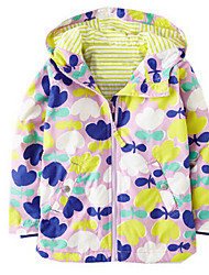 Girl's Casual/Daily Print Trench CoatCotton Spring Green / Purple / Red