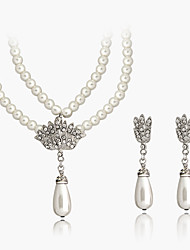 Lucky Doll Women's Alloy Rhinestone Imitation Pearl Silver Plated Necklace & Earrings Jewelry Sets