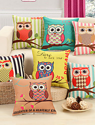 1set 7 pieces Lovely Owl Design Print Decorative Throw Pillow Case Cushion Cover for Sofa Home Decor Polyester Material