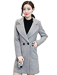 Women's Plus Size / Casual/Daily Pea CoatsSolid Notch Lapel Long Sleeve Winter Blue / Red / Gray Wool / Cotton Thick