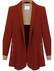Women's Work Simple Fall Blazer,Color Block Peaked Lapel Long Sleeve Blue / Red / Black Polyester Opaque