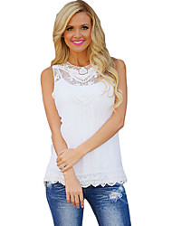 Women's Casual/Daily Simple Fall Tank TopSolid Round Neck Sleeveless Pink / White / Black Cotton Opaque