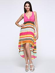 Damen Kleid-Hülle Sexy Druck Asymmetrisch Polyester V-Ausschnitt