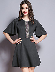BURDULLY  Going out Sophisticated Sheath DressSolid / Floral Round Neck Above Knee Short Sleeve Black